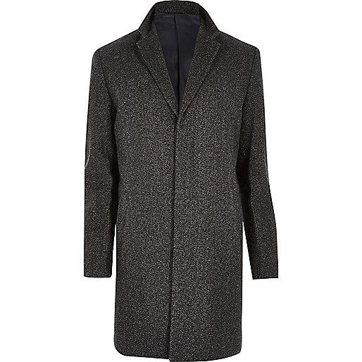 Dark brown herringbone wool blend coat - River Island - £95