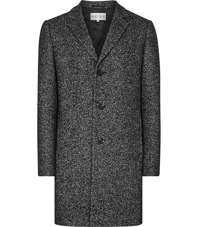'Roberts' charcoal melange wool coat - Reiss - £295