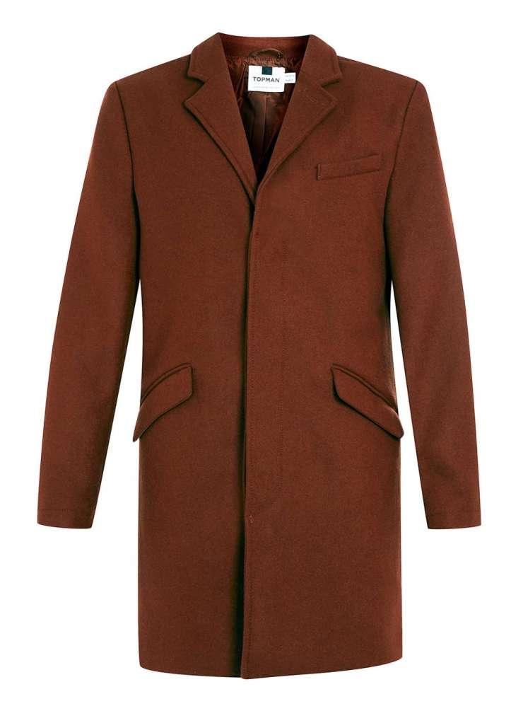 Rust wool blend overcoat - Topman  - £95