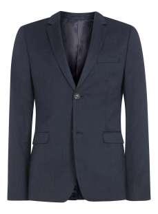 Navy wool blend flannel skinny suit jacket - Topman - £120