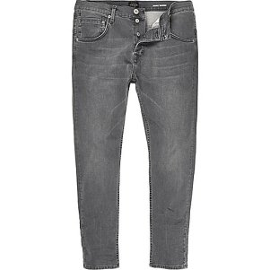 Grey skinny tapered jeans - River Island - £45